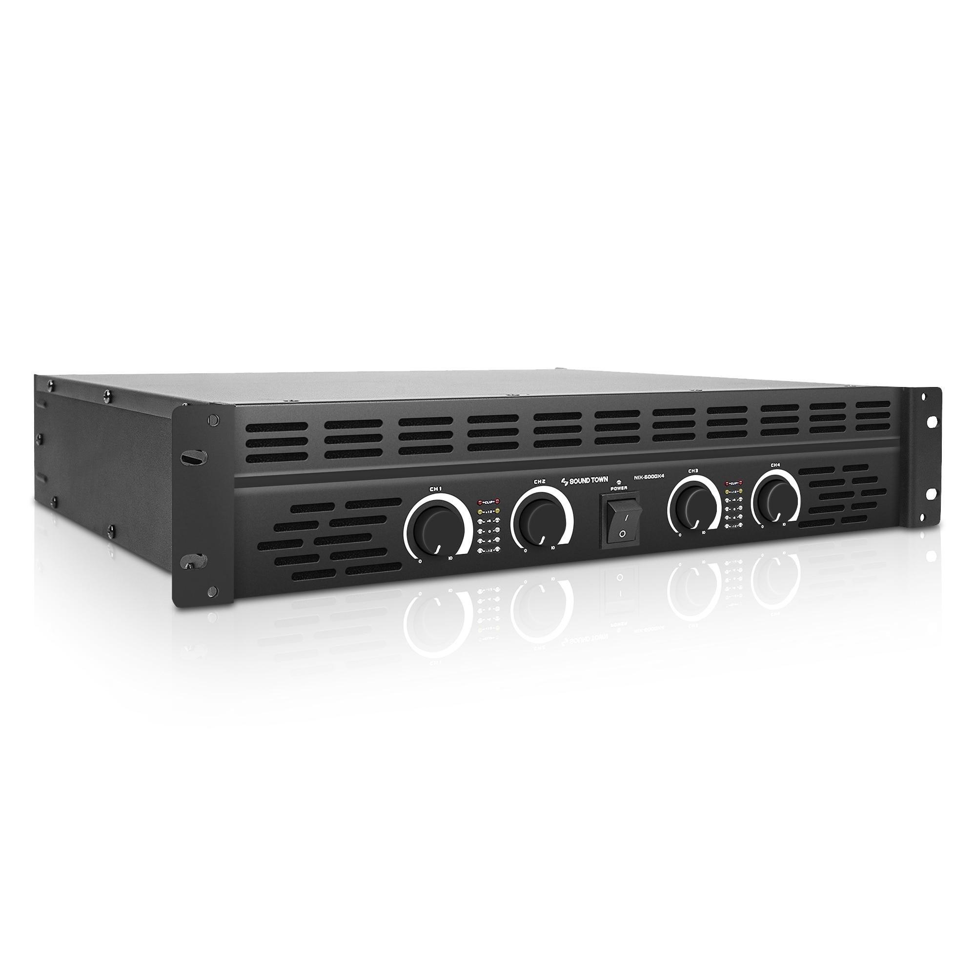 ساوند تاون 4-قناة 4X750 واط في 4 أوم ، 6000 واط الذروة الناتج مكبر الصوت المحمول (NIX-6000X4)