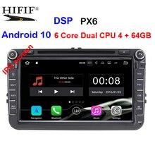 "PX6 6 Core 4G+64G 8"" IPS 2din Android 10 Car DVD for VW Passat CC Polo GOLF 5 6 Touran EOS T5 Sharan Jetta Tiguan GPS Radio bt"