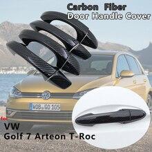 4 PCS Exterior Carbon Fiber Door Handle Cover Catch Trim Car Accessories for VW Volkswagen Golf 7 T-Roc Arteon 2013 2017 2018