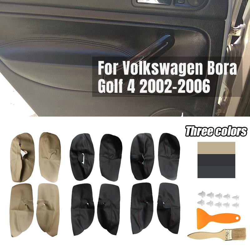 4PCS Auto Microfibre Leather Door Armrest Cover For Volkswagen VW Bora Golf 4 02-06 Car Interior Door Panel Protective Stickers