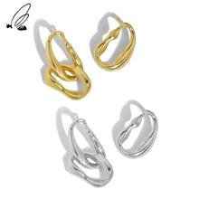 S'STEEL Minimalist Asymmetrical Earing Sterling 925 Silver Gold Stud Earrings Gift For Women Earing