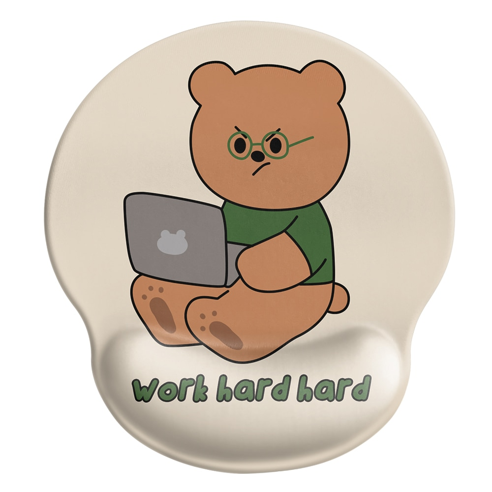 24x22x2cm  Silica Gel  Working Bear  Mouse Pad  Lovely Wind  Rest to Relieve Wrist Pressure