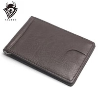 2021 new style men crazy horse dollar money clips card place black brown genuine leather 2 folded open clamp for