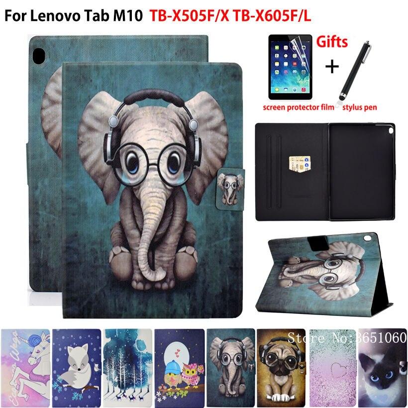 Case For Lenovo Tab M10 10.1 Cover Funda TB-X505F TB-X505X TB-X605F TB-X605L Fashion Animal Silicone PU Leather Stand Shell