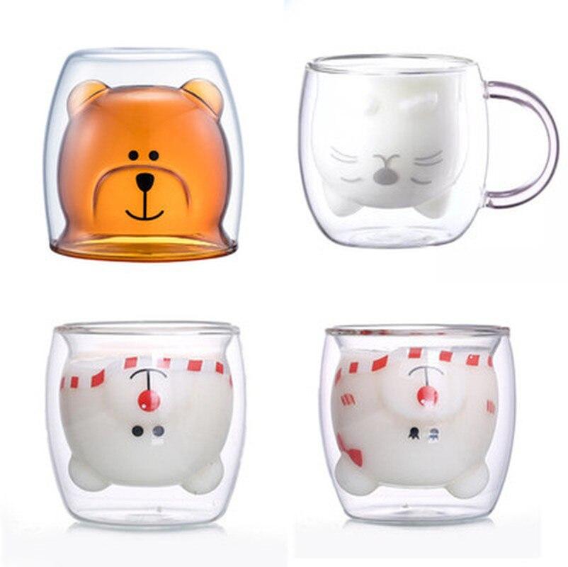 250ml Glass Mugs Cute Bear Cat Animal Double Wall Glass Mug Double-layer Glass Milk Mug Coffee Cup Christmas Gift