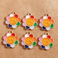 10pcs 1719mm enamel smiley sun flowers charms for jewelry making fashion earring pendant fit bracelet necklace diy findings