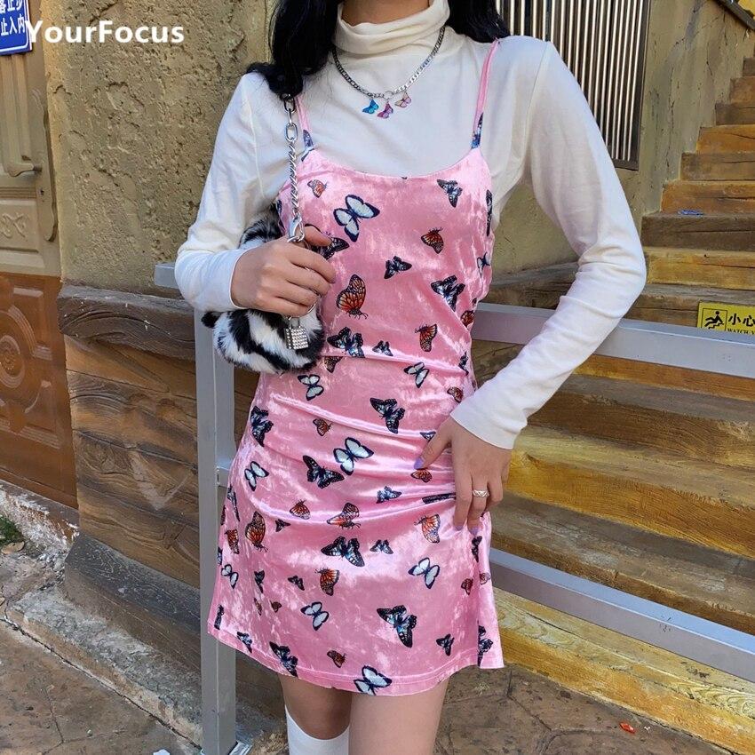 Bonito vestido retro Harajuku en azul y rosa para bebé, vestido de terciopelo multicolor con mariposas, vestido de tirantes sexy