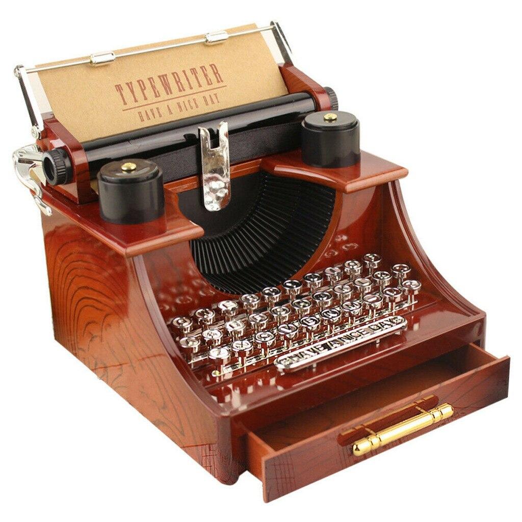 Decoración musical para el hogar Vintage caja de música Mini máquina de escribir un reloj mecánico regalo de cumpleaños decoración de la Mesa de caída 1127 envío