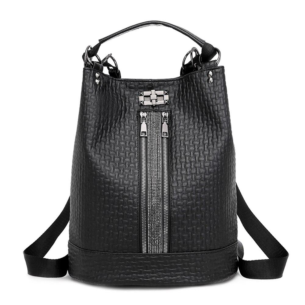Женские рюкзаки, женские кожаные школьные сумки для девочек-подростков, модный рюкзак-ведро, новые большие сумки на плечо, черные Mochila
