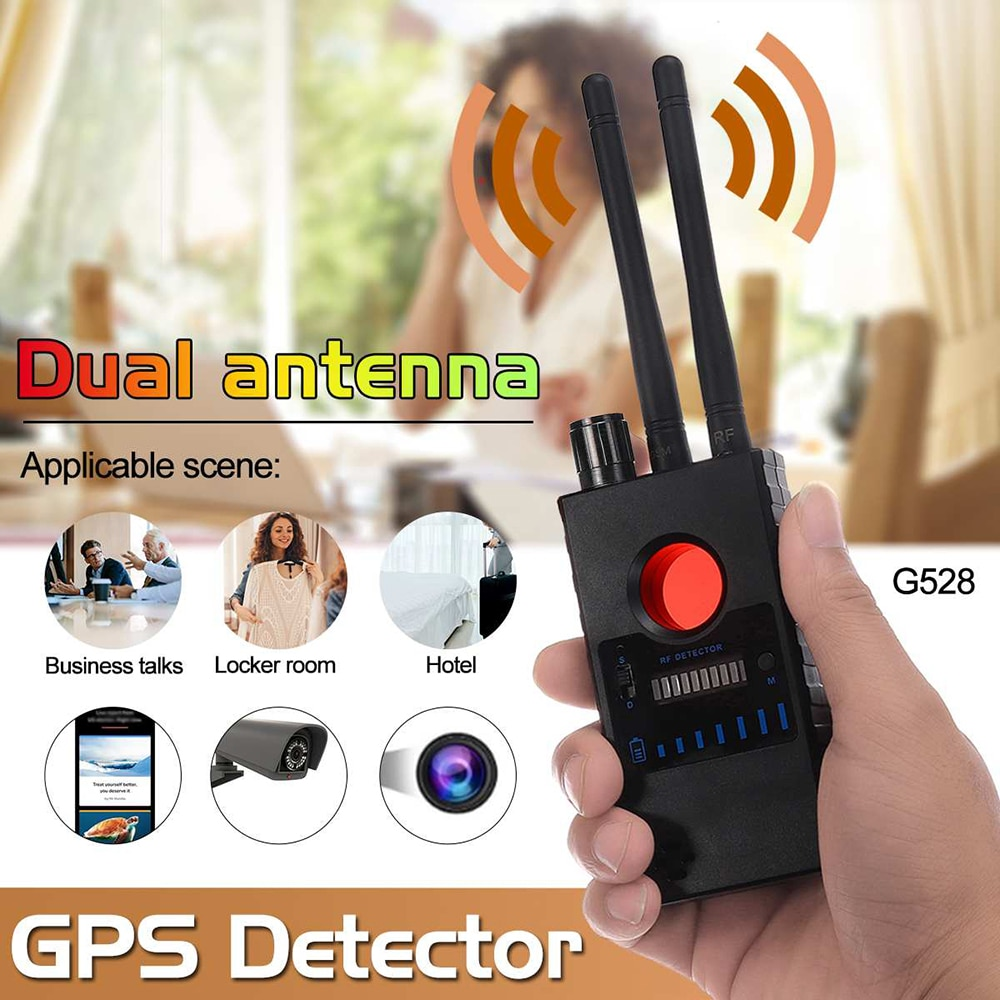 cx007 rf gsm device detection multi function rf signal camera phone gsm gps wifi bug detector finder with alarm person security G528 Multi-function Dual antenna Anti-spy Detector Camera GSM Bug Finder GPS Signal Lens RF Tracker