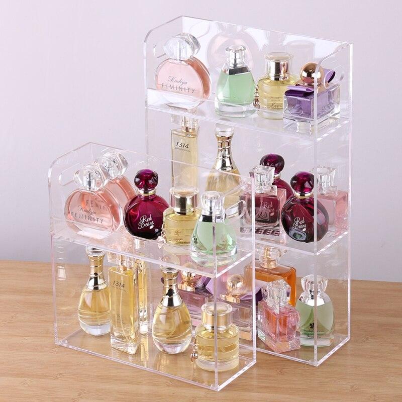 Acrílico perfume expositor perfume titular jóias organizador caso maquiagem suporte de armazenamento coemetics