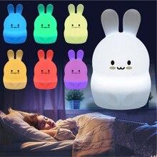 LED nachtlicht bunte kinder der nacht licht nette kaninchen pat licht USB silikon nacht licht 2,4G RF Remote control
