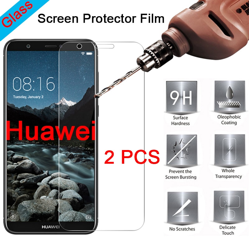 2 шт. Защитное стекло для Huawei Y9 2018 Y5 Y3 Pro 9H защита для экрана жесткое закаленное стекло для Huawei Y6 Y7 Prime 2018 пленка