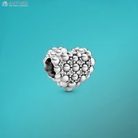 ahthen 925 sterling silver beads sparkling heart charm fit original pandora bracelets for women jewelry making birthday gift