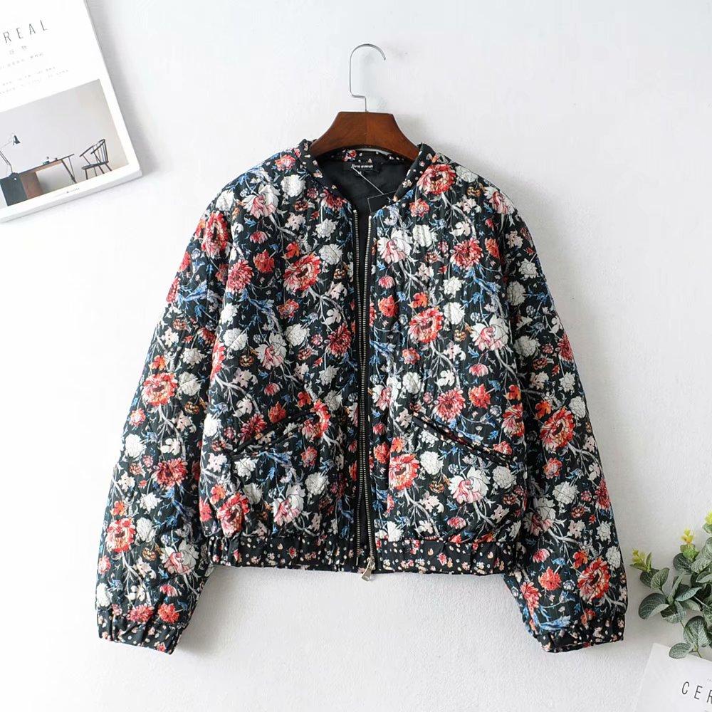 Vintage Chic Women Floral Print Parkas Fashion Autumn Female Bomber Jacket Zipper Stand Collar Casual Outerwear Streetwear