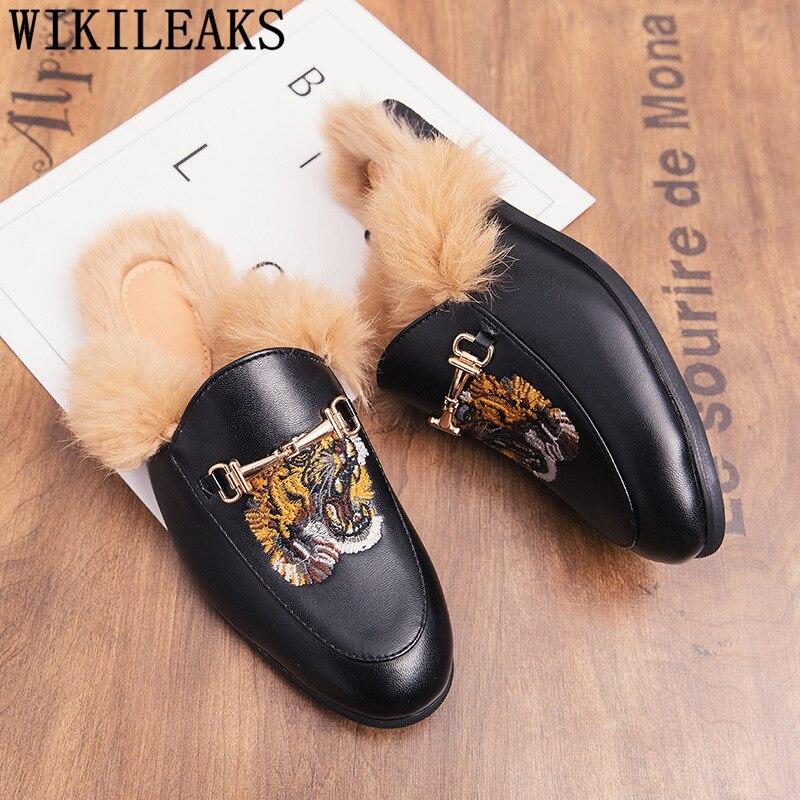 Designer Slippers Men Fur Mules Coiffeur Patent Leather Slippers Men Half Shoes for Men Slippers Luxury Homens Sapatos Casuais