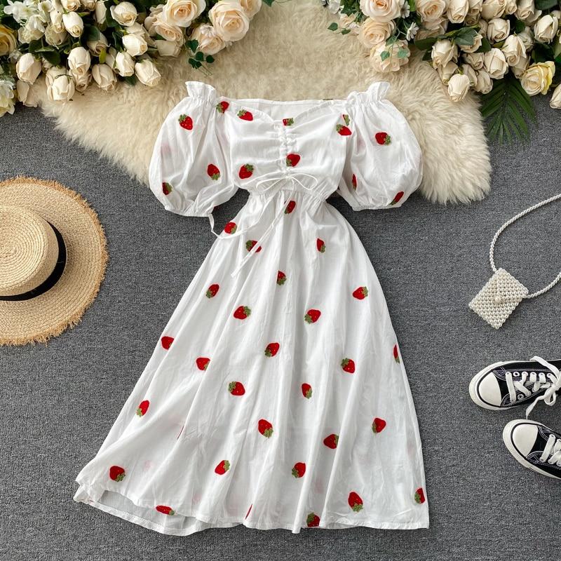 2020 Summer Midi Dress Women Off Shoulder Ruched Dresses Elegant Puff Sleeve White Fruit Embroidery Dress