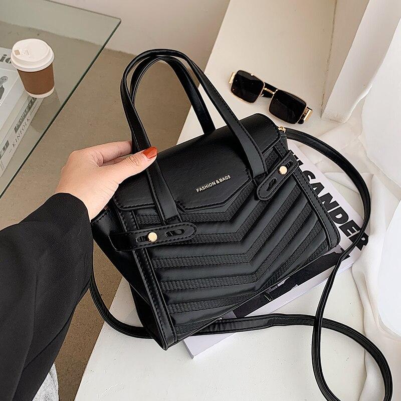 Winter Large Shoulder Bag black v-line Bags with handle Leather Pu Female Luxury Handbags Women Bags Designer Sac A Main Femme