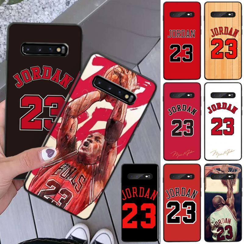 Jemy basquete jordan 23 capa preta caso de telefone macio para samsung s5 6 7 8 9 10 s8 s9 s10 plus s10e lite S10-5G s20 uitra mais