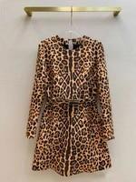 leopard print dress women high quality o neck long sleeve sashes waist dress high end brand 3d cut slim a line dress autumn 2021