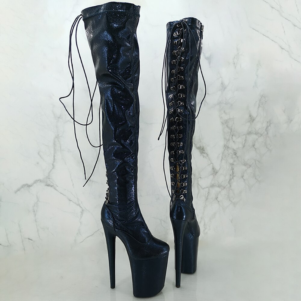 Leecabe  20CM/8inches lace-up fashion  lady High Heel platform  Pole Dance boots