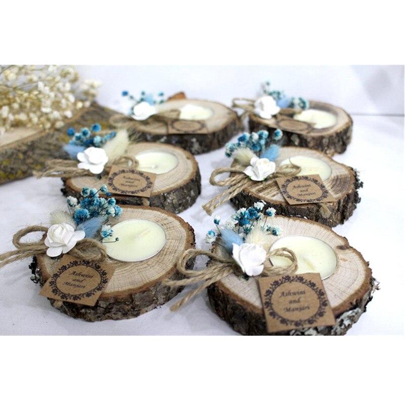 10 Uds. Personalizados regalos de boda para invitados a granel, portavelas de madera, decoración de despedida de soltera, recuerdo de bautismo, regalo de agradecimiento