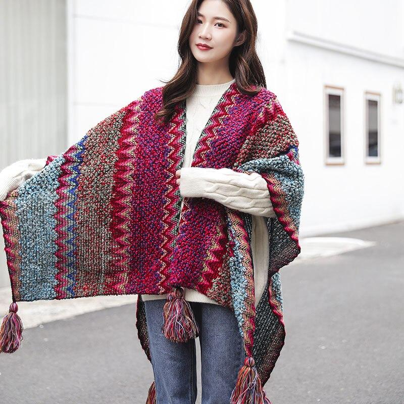 Autumn Winter Woolen Scarf Stoles Women Ethnic Cloak Shawl Female Outdoor Warm Tassel Pashmina Hijab Female Fashion Accessories art ethnic geometry pattern tassel scarf