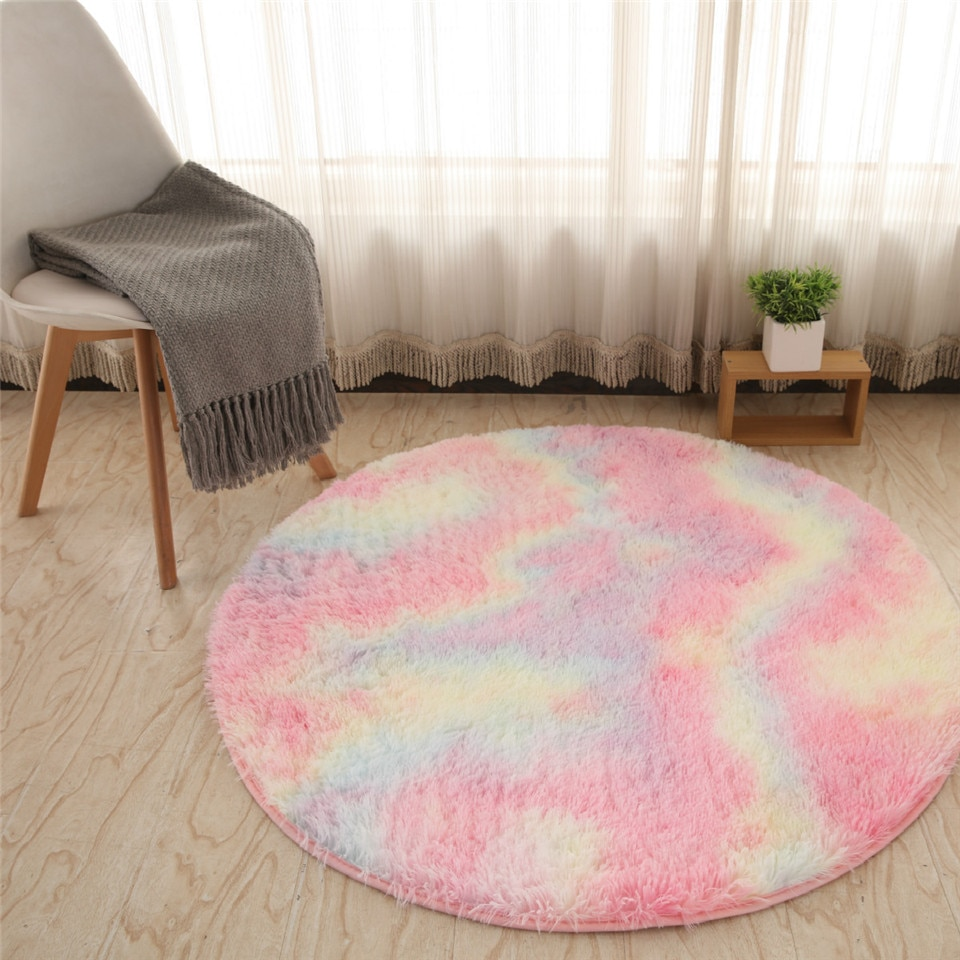 Round Long Hairy Carpet Colorful Bedroom Rug Fluffy Girl Bedroom Decoration Tie-dye Gradient Soft Plush Children Rug Bedside Mat
