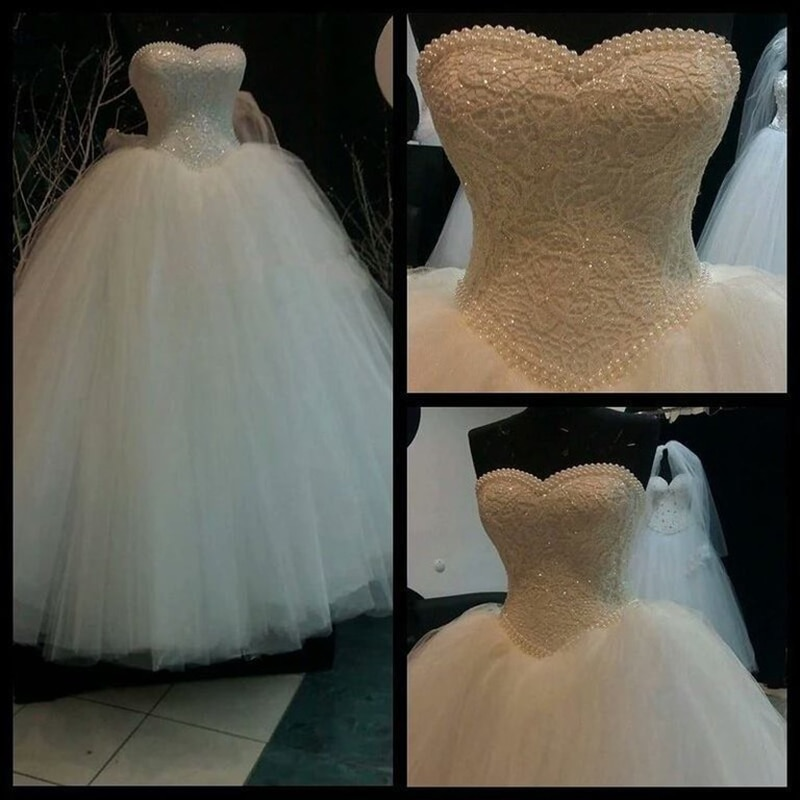 Luxury Long Bridal gowns Ball Gown Pearls Beading Lace Sweetheart Floor Length For bride 2020 Mother
