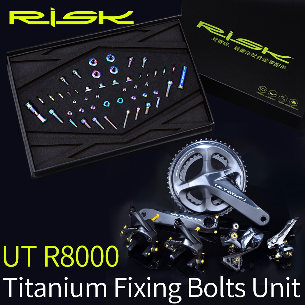 Conjunto de tornillos de titanio RISK R8000 para sistema de cambio de bicicleta Ultegra R8000 Kit de tornillos 49 Uds pernos Ti