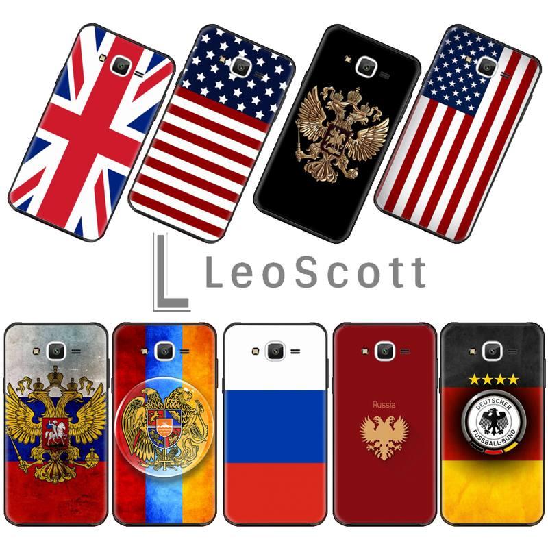 Bandera rusa americana británica emblema nacional PhoneCase para Samsung Galaxy J 2 4 5 6 7 8 2016 2017 2018 Prime Pro plus Neo duo