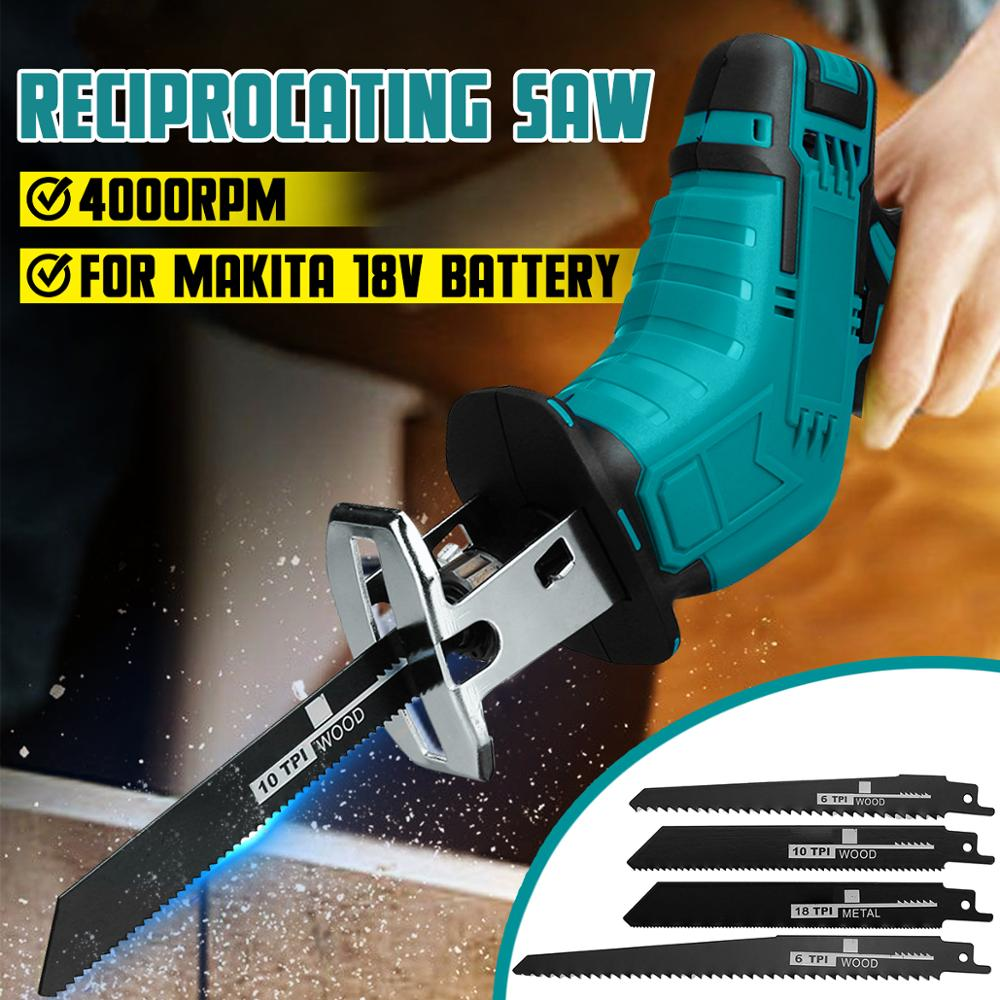 18V 4000rpm/min Cordless Electric Reciprocating Saw Variable Speed Metal Wood Cutting Tool Electric