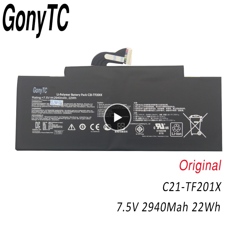 GONYTC C21-TF201X 7.5 فولت 22WH الأصلي اللوحي بطارية ل ASUS محول الوسادة TF300 TF300T TF300TG TF300TL