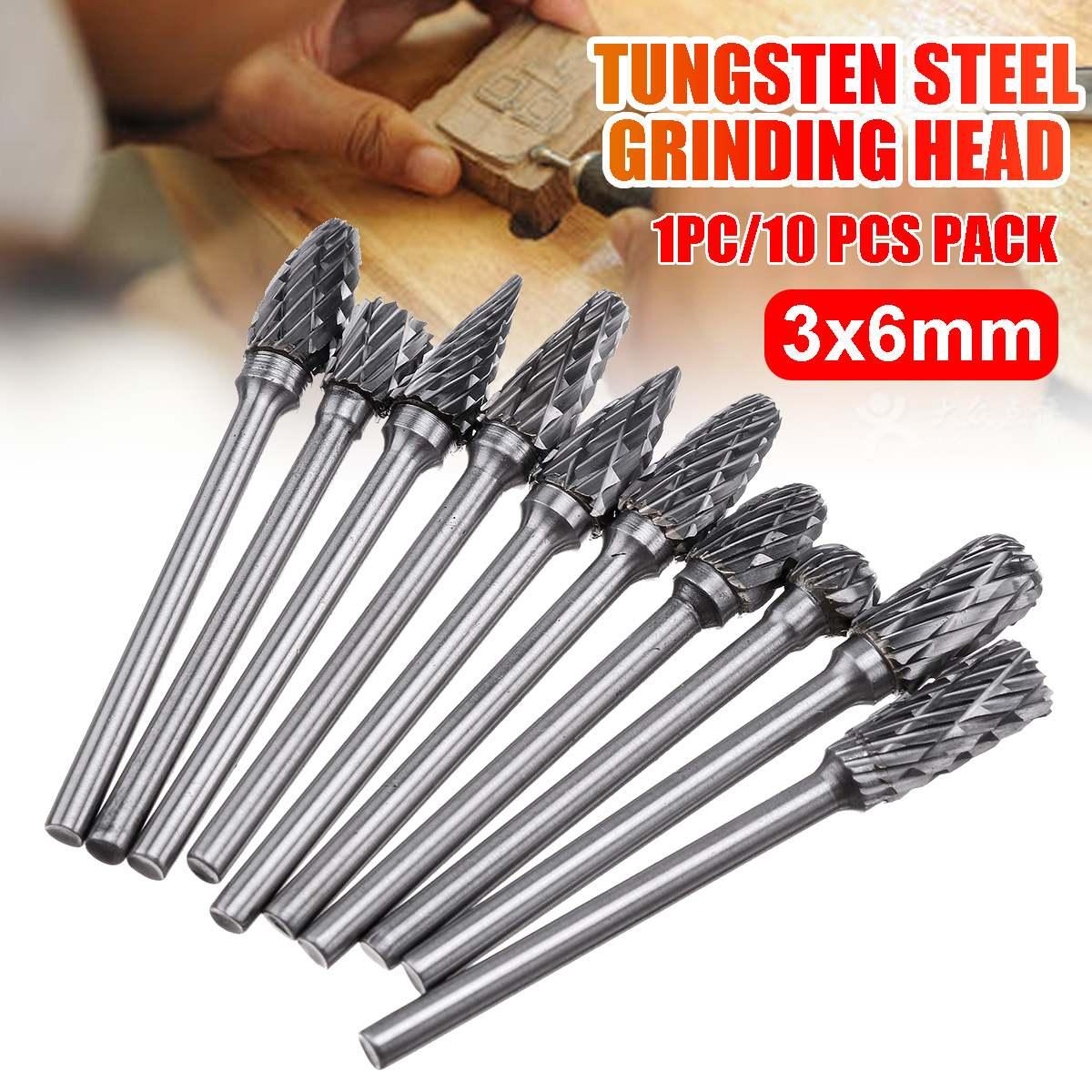 Drillpro 10 stücke Wolfram Stahl Schleifen Kopf Hartmetall Grate Sets Mini Bohrer Diamant Bohrer Material Tungstenio Zubehör