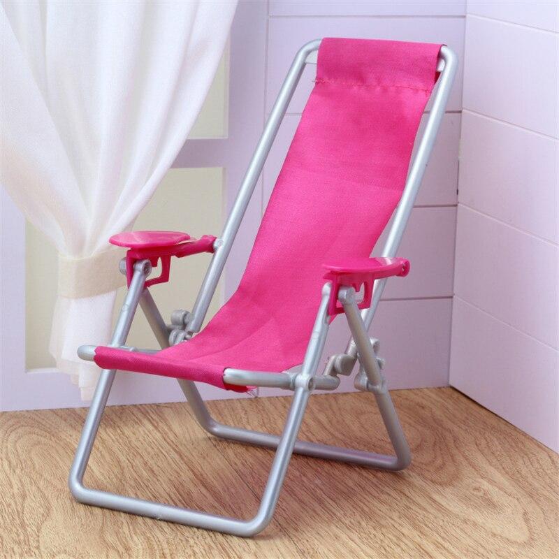 16 escala muebles de casa de muñecas natación accesorios de Deckchair plegable para muñeca Barbie para Blythe House Lounge Rosa Silla de playa