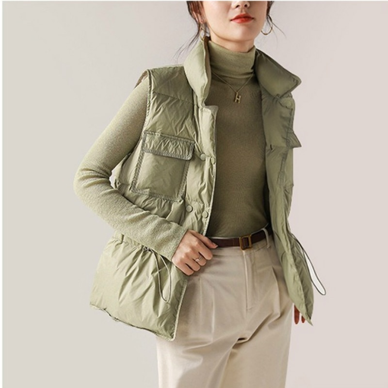 Korean Style New Drawstring Lightweight Down Coats Women Down Vest Fashion Short Jacket Woman Winter Women Clothing High Quality winter new style ladies stand up collar lightweight down vest casual style down vest women s big pocket fashion solid color vest