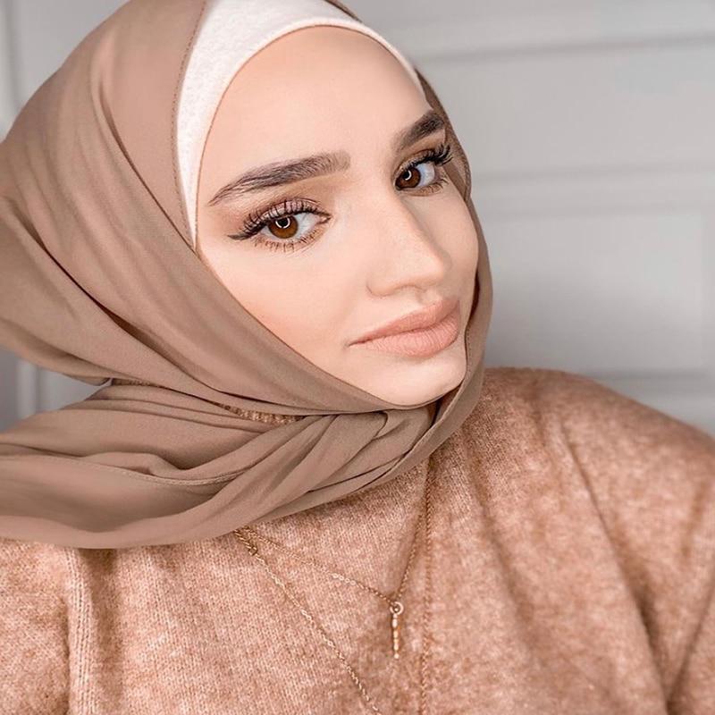 Women Solid Color Plain Hijab Headband Muslim Chiffon Scarf Shawls Wraps Islamic Headscarf Hijab Sto