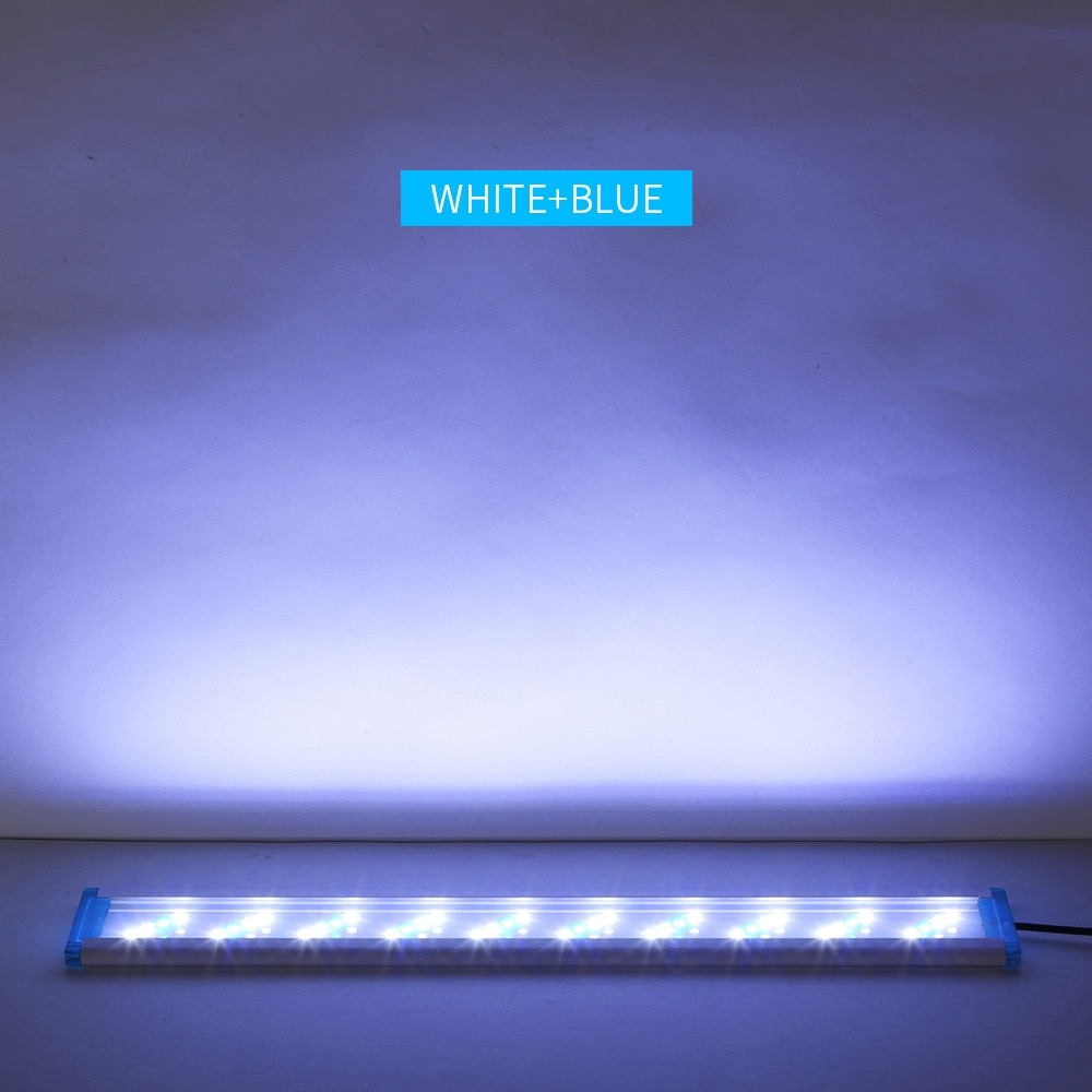 Aquarium LED Light Super Slim Fish Tank Aquatic Plant Grow Lighting Waterproof Bright Clip Lamp Blue LED 18-58cm for Fish Tank