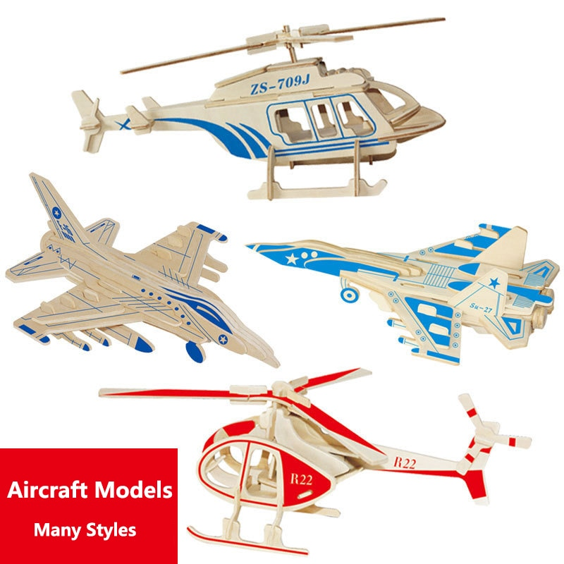 High Quality  Airplane Car Model  DIY Children 3D Puzzle Solid Wooden Inserting And Assembling  Educational Toys Kids Gift diy popular 3d 8 planets science solar system model children assembling toys for kids educational children toys