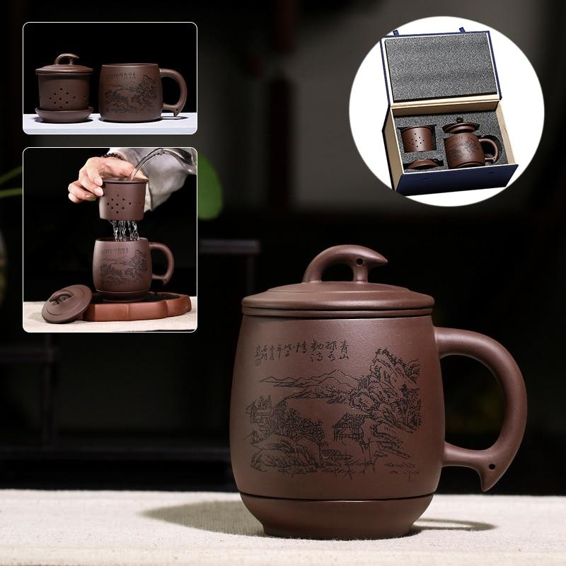 الأرجواني حصى الشاي مع فلتر Yixing الأرجواني الطين أكواب شاي الصينية اليدوية كأس غطاء الشاي Infuser مكتب حفل الشاي اكسسوارات