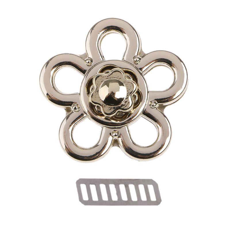 Cierre con forma de flor THINKTHENDO, cierre giratorio, cerraduras de Metal para bolso de bricolaje, tipo bandolera bolso de hombro, accesorios para bolsos