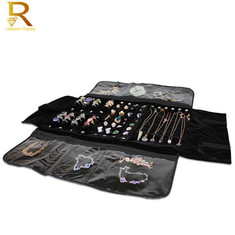 Wholesale Portable Black Velvet Zipper Bag Jewelry Roll Storage Bag Ring Pendant Folding Travel Organizer Earrings Case Box