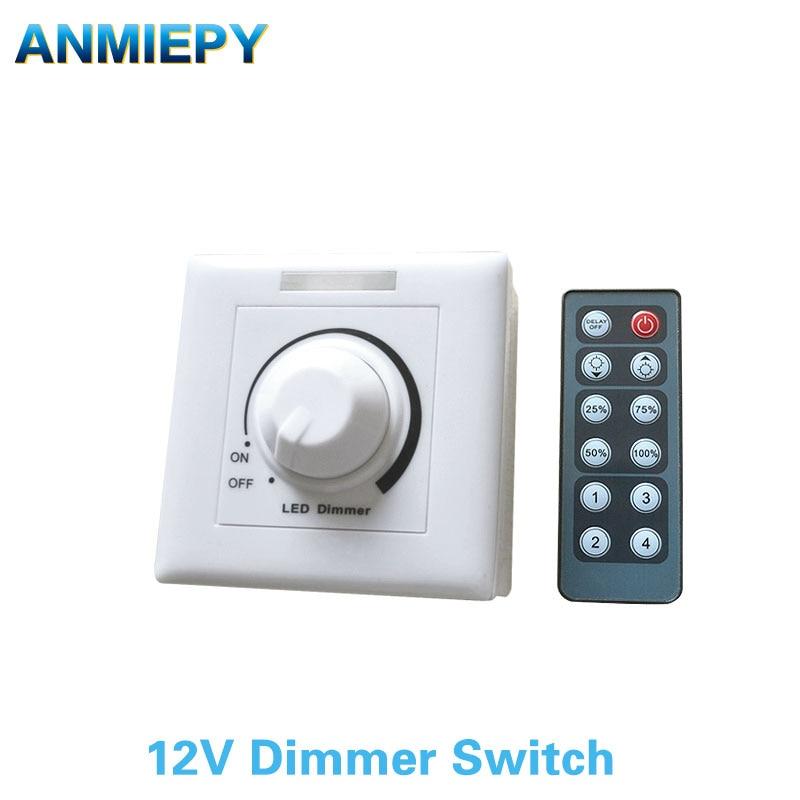 led dimmer interruptor dc 12v 24v 12a 30a ajustavel brilho lampada tira driver unica