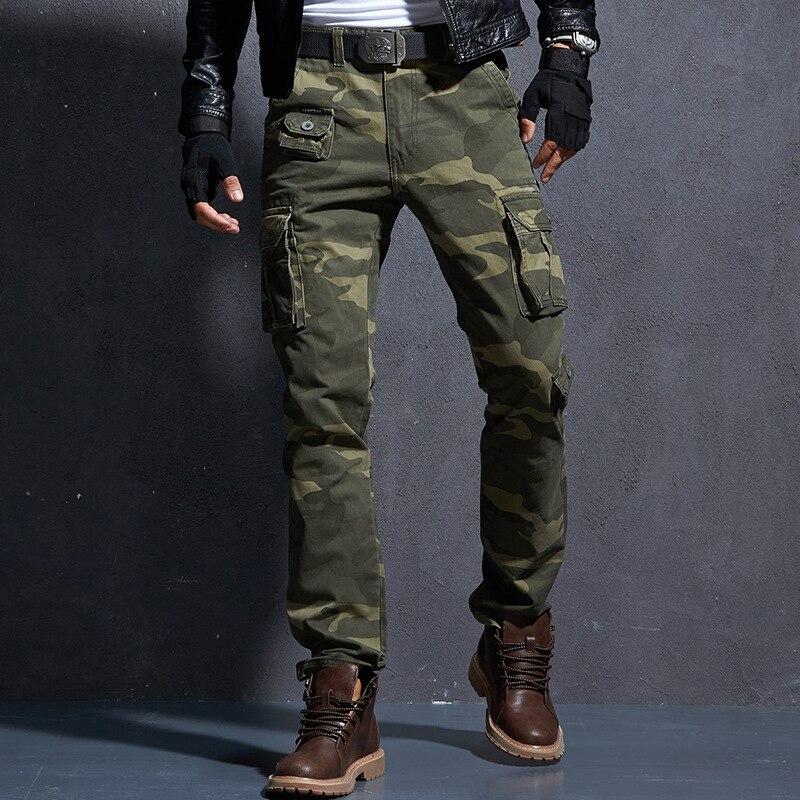 الرجال سراويل البضائع الانيقة الجيش موضة متعددة جيب العسكرية كامو القتالية العمل السراويل في الهواء الطلق التنزه الرحلات بناطيل كاجوال