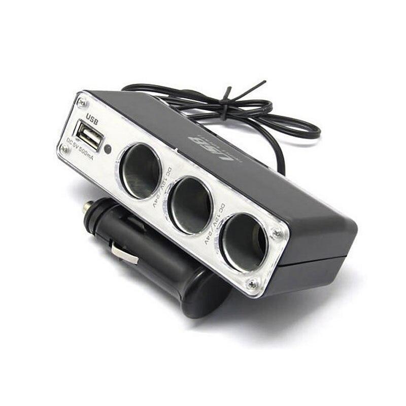 Auto cargador USB 3 hembra divisor de encendedor de cigarrillos de coche para Ford Audi Mazda Mercedes Acura subaru OPEL