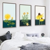 watercolour sunflower art canvas painting nordic cartoon flower posters and prints wall picture for living room home decor