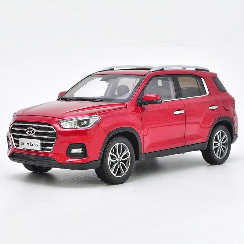 118 Diecast Modelo para Hyundai IX35 2018 Vermelho Liga SUV Carro de Brinquedo Em Miniatura Presentes Coleção Tucson IX 35