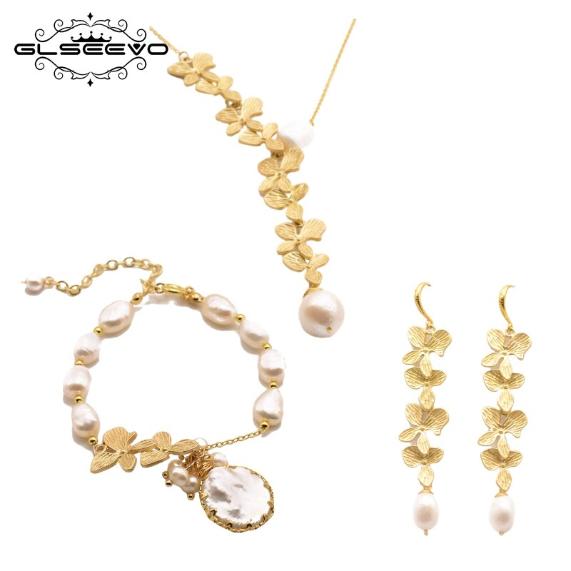 GLEVO Natural Freshwater Baroque Pearl Necklace Earrings Bracelet Women  Party Gift Leaves Exquisite Jewelry Set Jewelry GS0021
