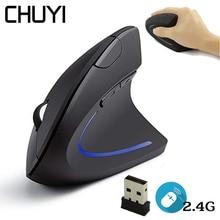 CHUYI souris verticale ergonomique sans fil 1600 DPI optique USB ordinateur souris de jeu souris pour ordinateur portable Mause avec tapis de souris pour Gamer PC