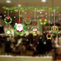 christmas garland decals poster window shop glass door living room home decoration self adhesive waterproof pvc wall stickers